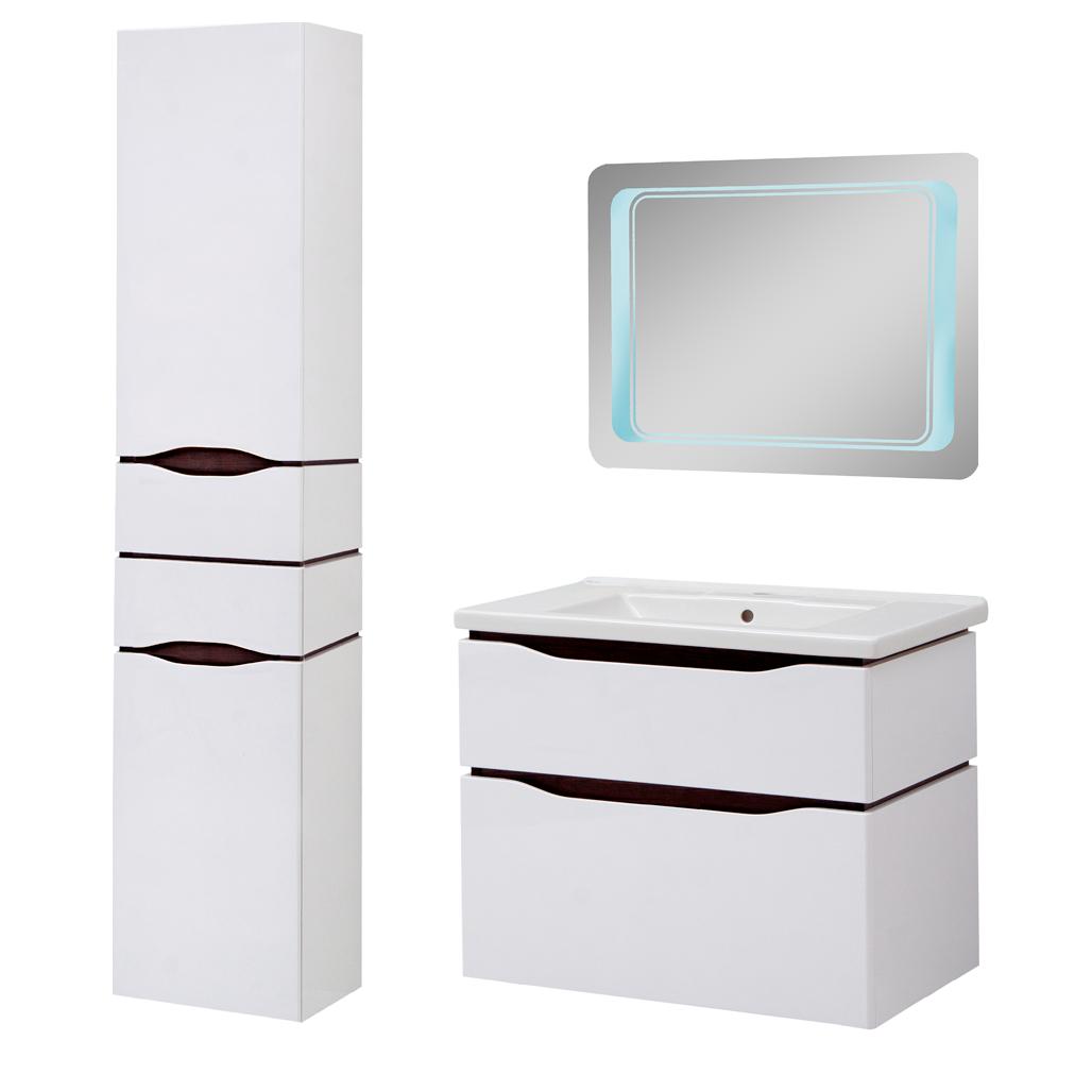 Комплект мебели для ванной комнаты Сенатор 80 подвесной с зеркалом Юввис
