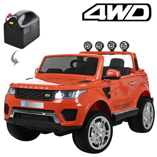 Детский двухместный электромобиль Rage Rover M 3273 EBLR оранжевый, 4 мотора, ключ, двери, багажник, кожа, EVA