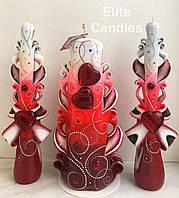 Весільні свічки з розписом для церемонії запалювання вогнища червоного кольору