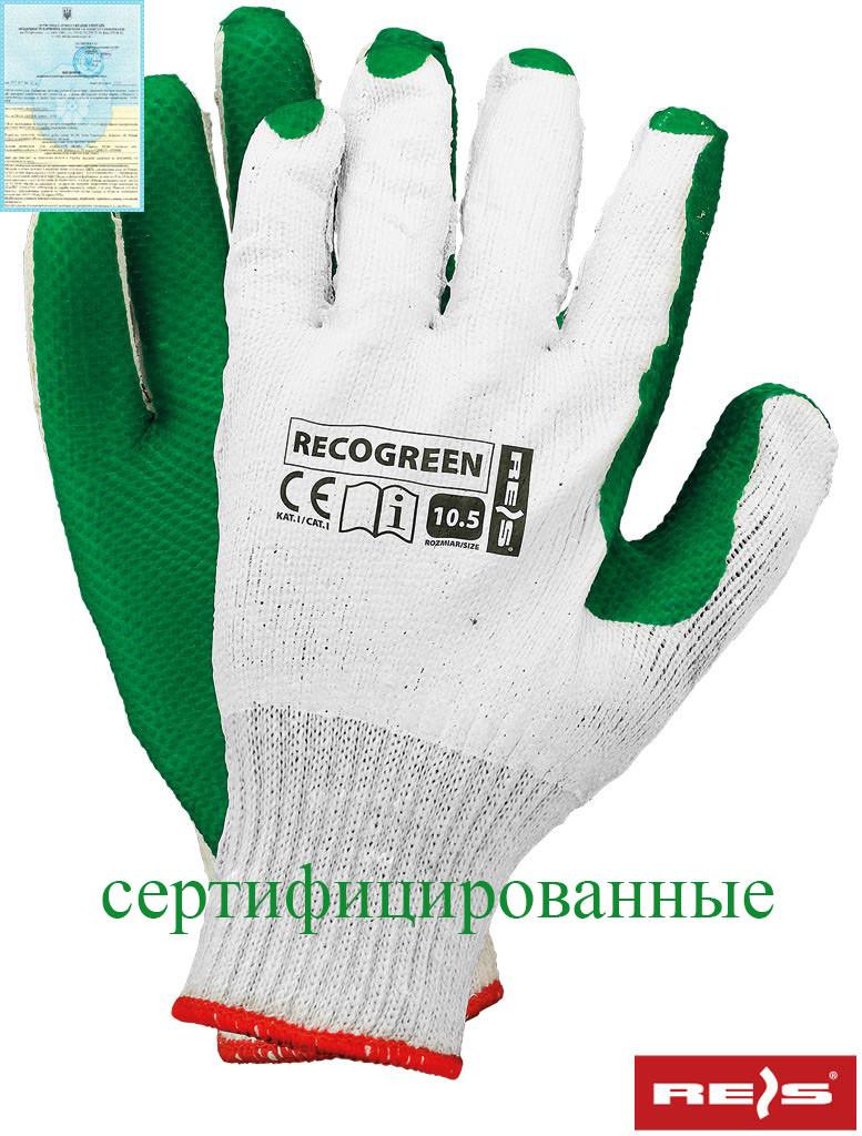 Перчатки рабочие RECOGREEN WZ стекольщика и каменщика REIS (RAW-POL) Польша