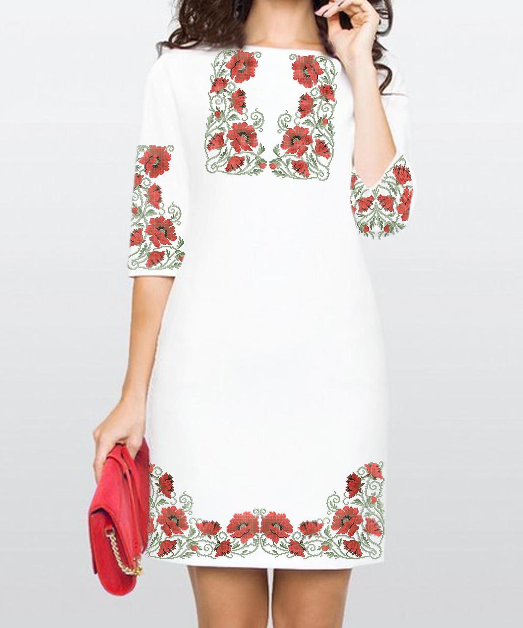 Заготовка жіночого плаття чи сукні для вишивки та вишивання бісером Бисерок  «Маки в орнаменті 27» (П-27 )