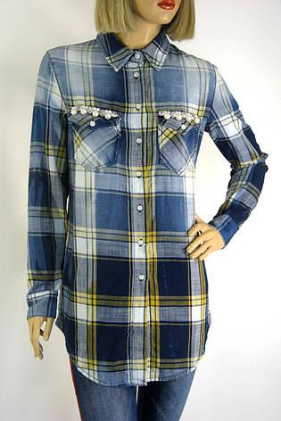 Жіноча сорочка-туніка в клітинку з мережевом,бісером ,перлинками  Saloon, фото 2