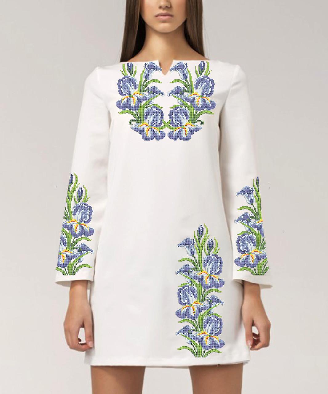 Заготовка жіночого плаття чи сукні для вишивки та вишивання бісером Бисерок  «Іриси 03» (П-03 ГБ) Габардин