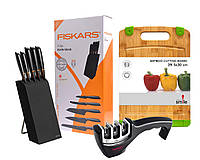 Набор ножей 5 шт. в блоке + точилка FISKARS EDGE 1003099/978791