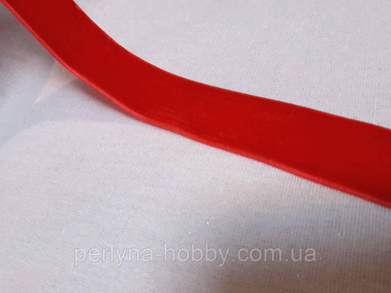 Стрічка оксамитова Лента бархатная (бархатка) 2,5см, червона яскрава