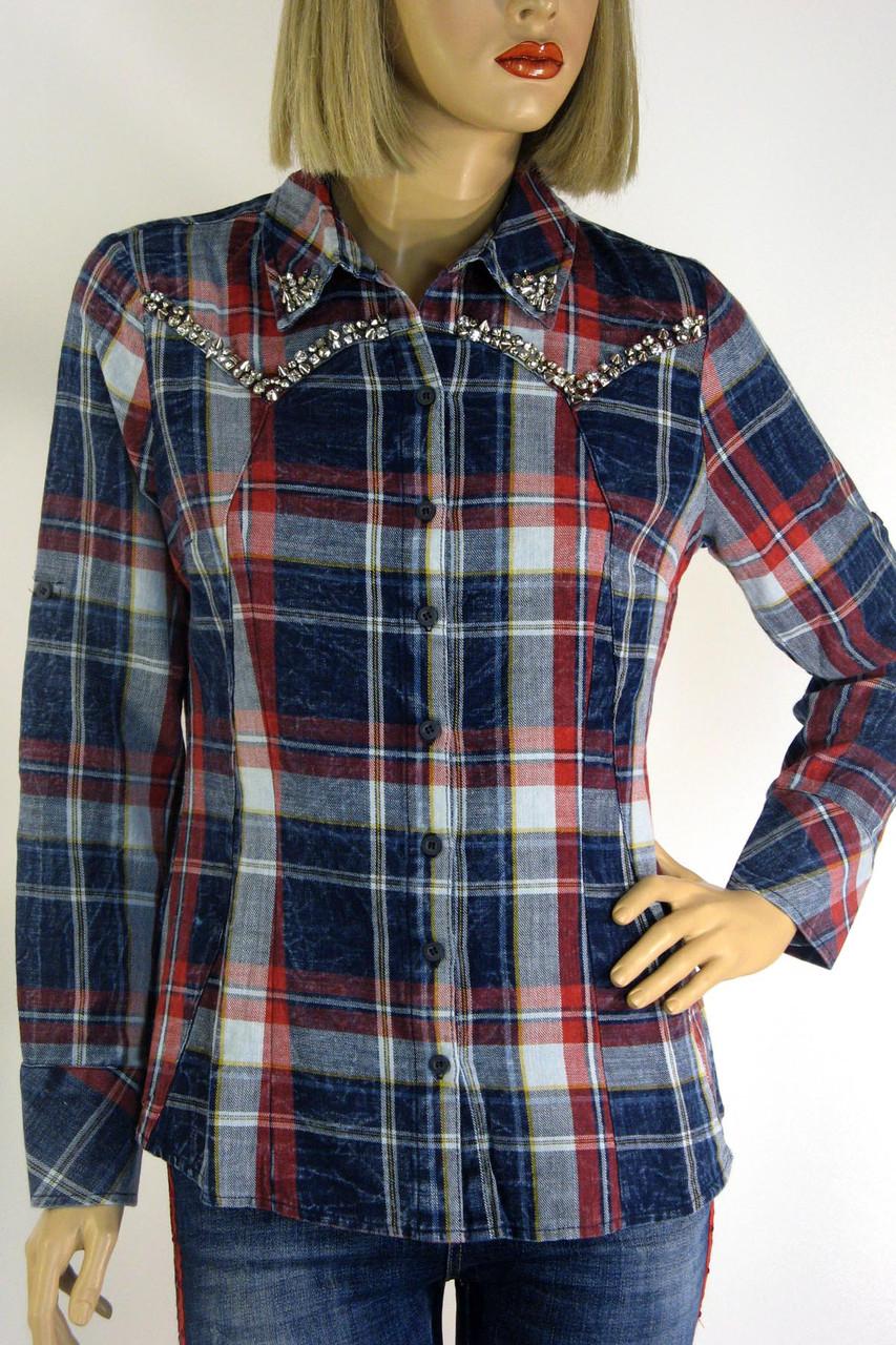 Жіноча сорочка в клітинку з бісером ,перлинками  Saloon