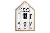 Ключница без дверцы Домик, белая, 24x38 см.