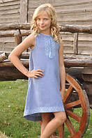 Платье вышитое льняное голубое с американской проймой для девочки