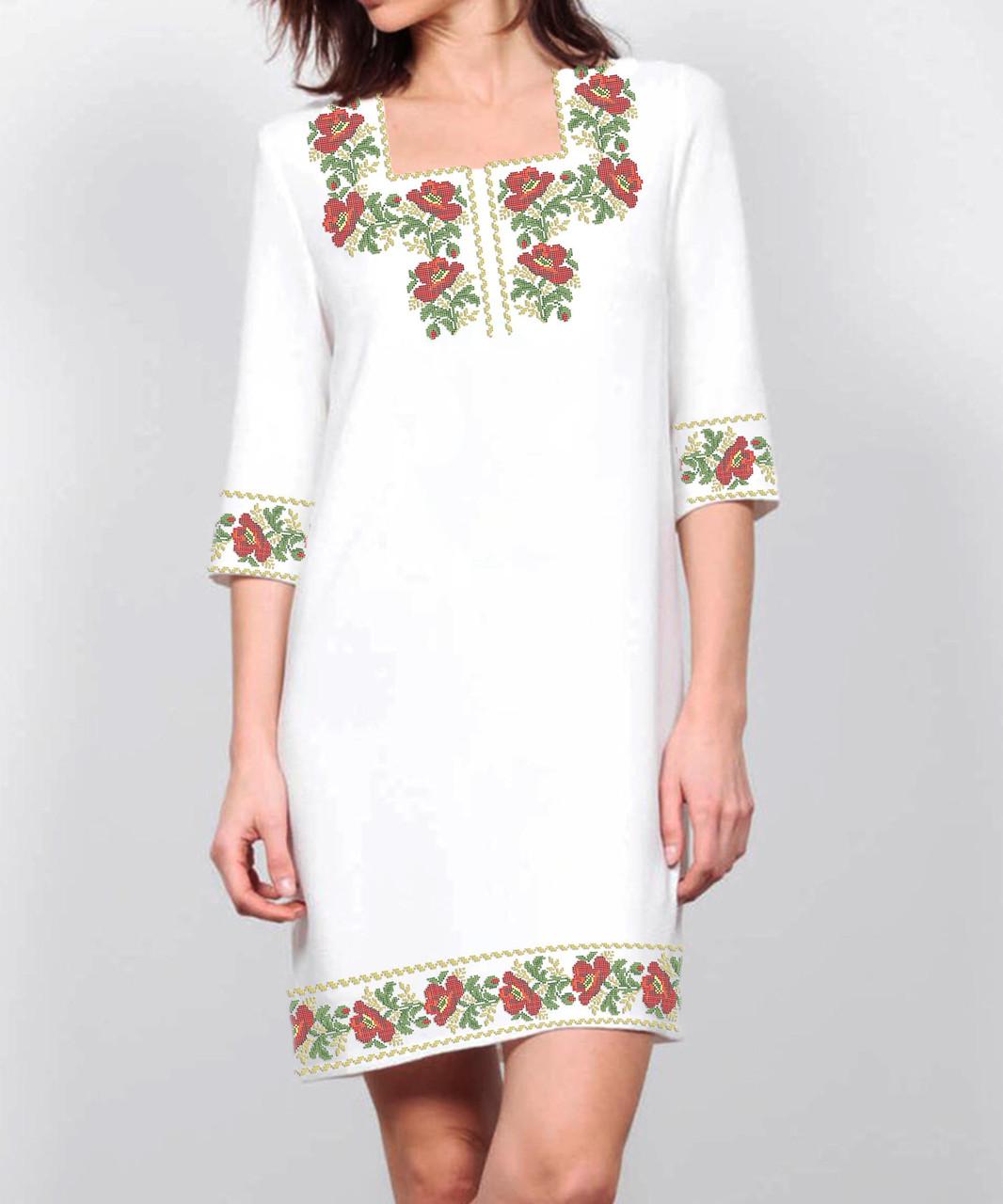Заготовка жіночого плаття чи сукні для вишивки та вишивання бісером Бисерок  «Маки в орнаменті 105» (П-105 ГБ) Габардин