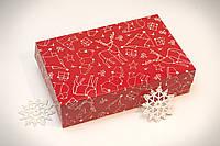 Коробочка для еклерів та зефіру 230*150*60 Новорічна червона