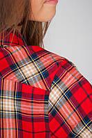 Рубашка женская клетка 438K002 junior (Красно-бежевый), фото 1