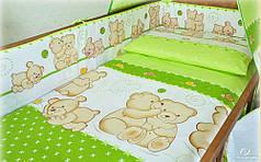 Детское постельное белье в кроватку, постельный комплект Мишка улитка салатовый