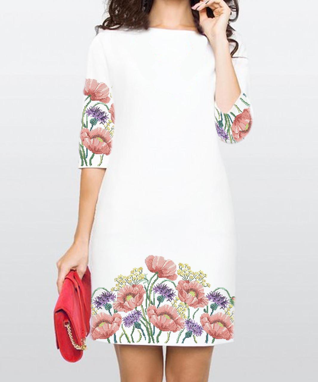 Заготовка жіночого плаття чи сукні для вишивки та вишивання бісером Бисерок  «Чарівні маки» (П-117 ГБ) Габардин