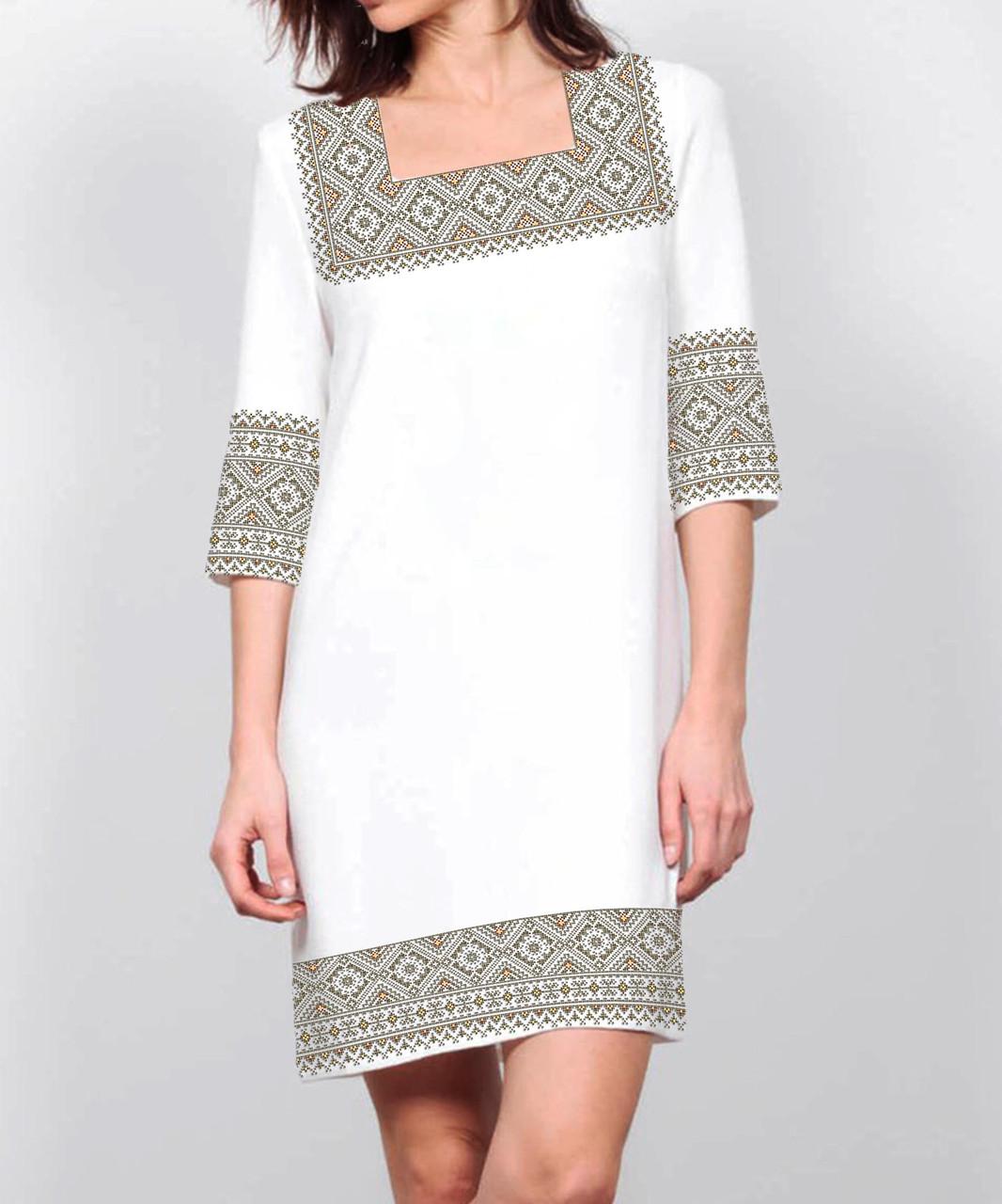 Заготовка жіночого плаття чи сукні для вишивки та вишивання бісером Бисерок  «Сірий орнамент 72 С» (П-72 С )