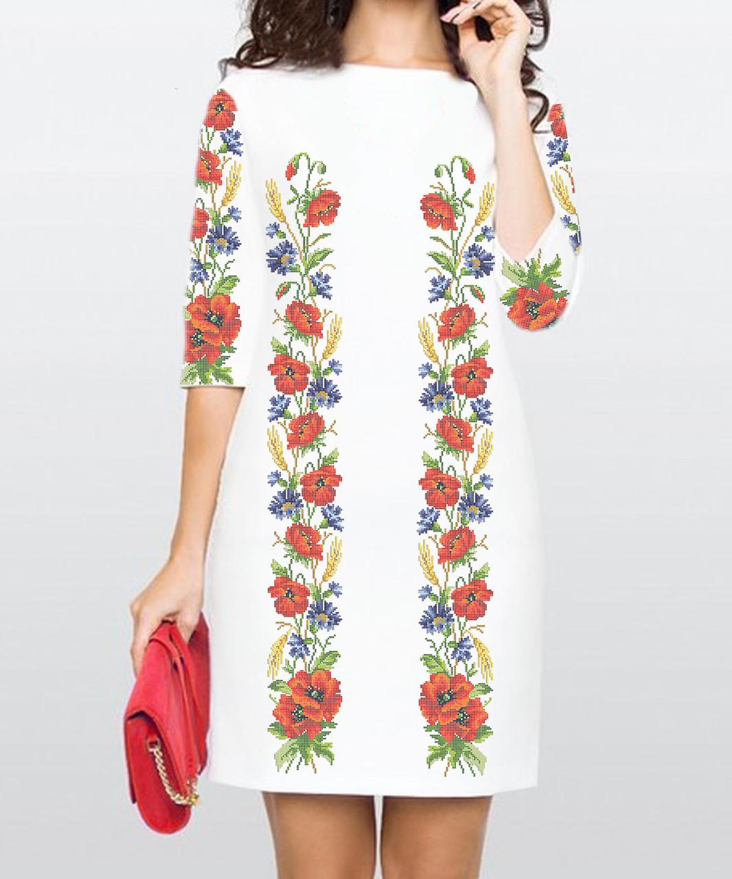 Заготовка жіночого плаття чи сукні для вишивки та вишивання бісером Бисерок  «Маки та волошки 115» (П-115 )