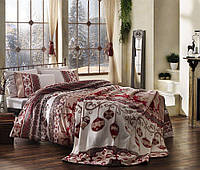 TAC Showden red сатин семейный комплект постельного белья