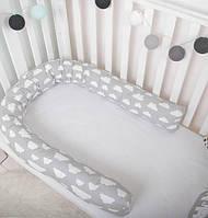 """Бампер, фиксатор, подушка для беременных,защита в кроватку  """"Серые облака"""""""