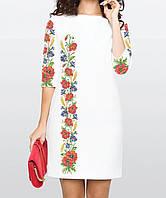 Заготовка жіночого плаття чи сукні для вишивки та вишивання бісером Бисерок  «Маки та волошки 114 fa6781826452e