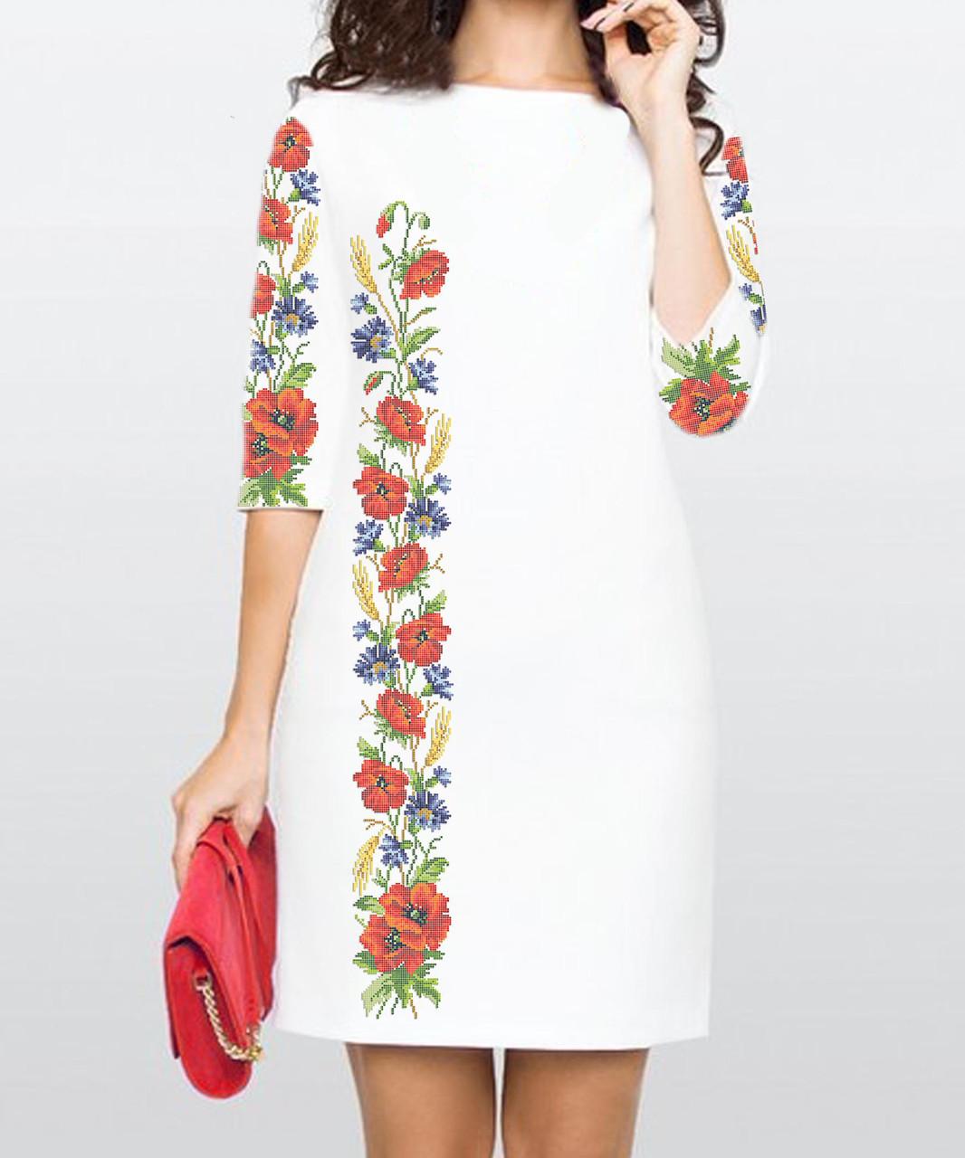 Заготовка жіночого плаття чи сукні для вишивки та вишивання бісером Бисерок  «Маки та волошки 114» (П-114 )