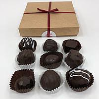 Крафтовые шоколадные конфеты в картонной упаковке 9шт