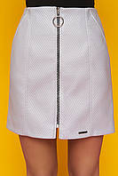 """Модная женская короткая юбка с молнией спереди, стеганая экокожа """"Номи"""" (серый)"""
