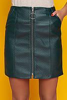 """Модная женская короткая юбка с молнией спереди, стеганая экокожа """"Номи"""" (зеленый)"""