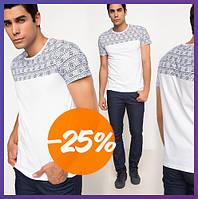 Белая мужская футболка De Facto / Де Факто с узорами на плечах