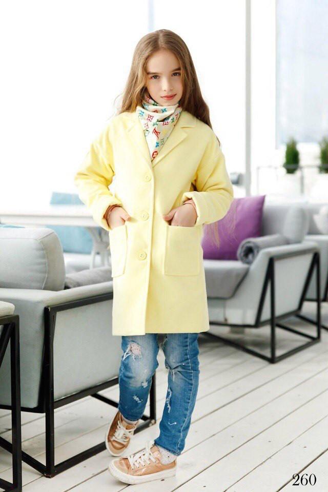 Пальто детское прямое с карманами кашемир 134,140,146,152