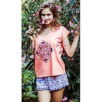 Женская летняя пижама, футболка с шортами. LNS 830 Key
