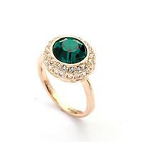 Женское кольцо с зелёным камнем в позолоте Очарование Тропическое солнце 424535 (16.0 16.5 размеры в наличии)