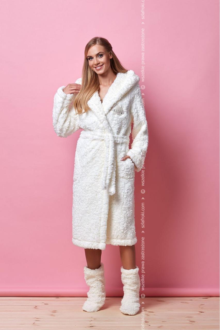 Жіночий халат середньої довжини із ворсової тканини L&L HILL 7103