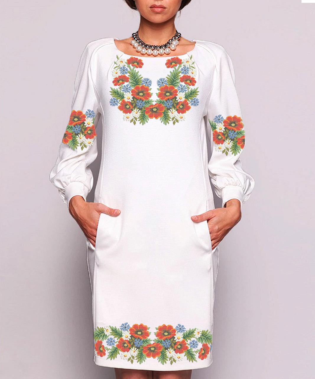 Заготовка жіночого плаття чи сукні для вишивки та вишивання бісером Бисерок  «Польовий букет» (П-08  )