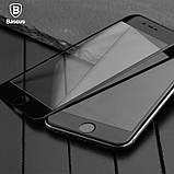 Защитное противоударное стекло Baseus Silk Screen Tempered Glass (SGAPIPH8N-ASL01) IPhone 8/7 Black, фото 3