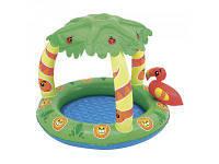 Детский бассейн с надувным дном интекс