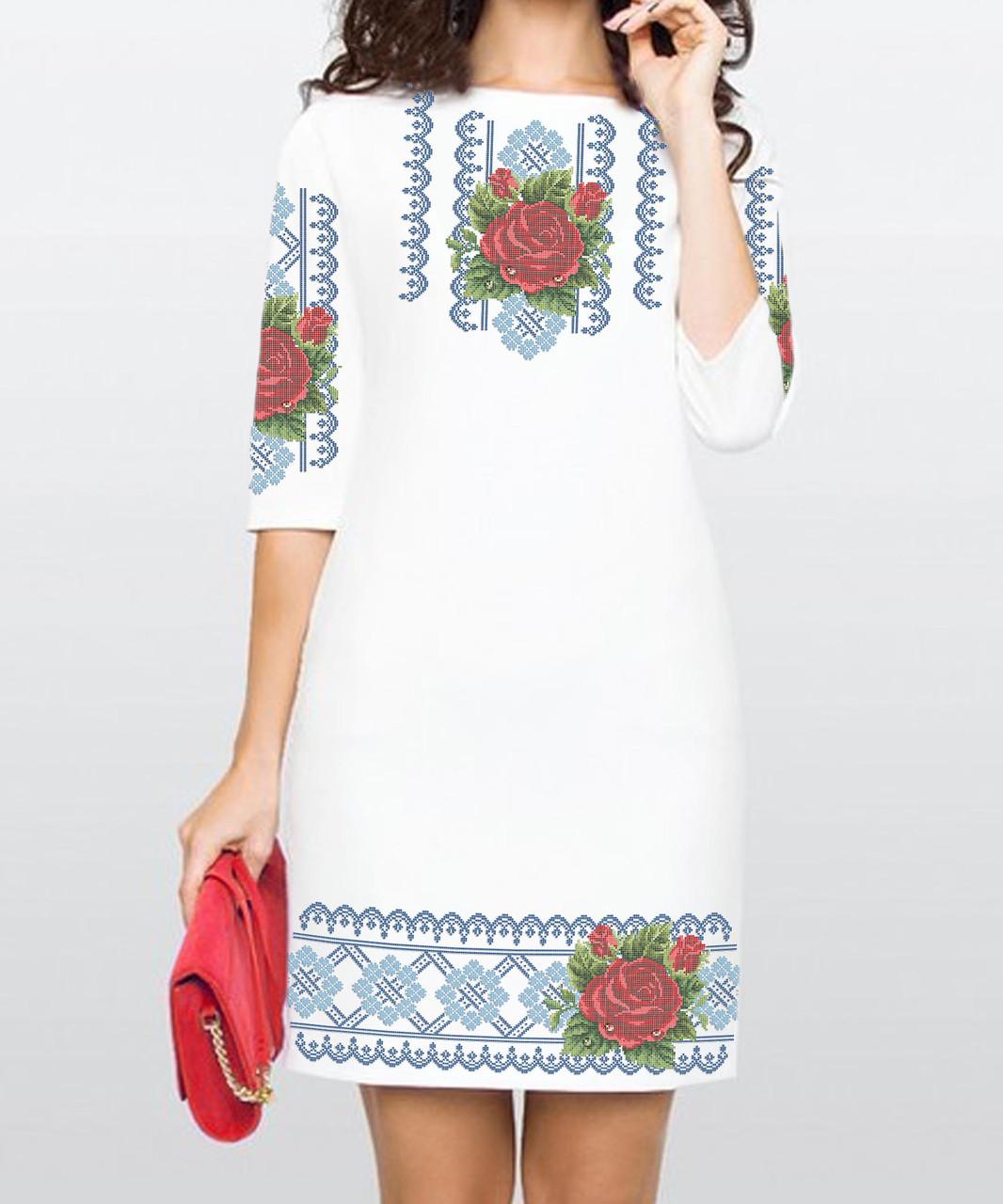 Заготовка жіночого плаття чи сукні для вишивки та вишивання бісером Бисерок  «Троянда в росі в голубому орнаменті» (П-59-Г )