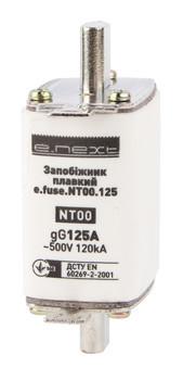 Предохранитель плавкий e.fuse.NT00.125, габарит 00, 125А