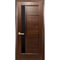Двери межкомнатные Новый Стиль НОСТРА ГРЕТА каштан с черным стеклом