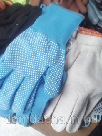 Рабочие перчатки нейлоновые тонкие серые с точками, фото 2