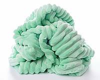 Плюш в полоску Stripes, мятный с зеленоватым оттенком