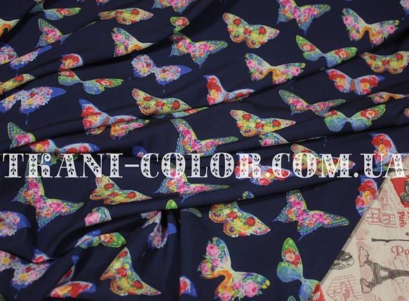 Ткань супер софт принт бабочки, фото 2