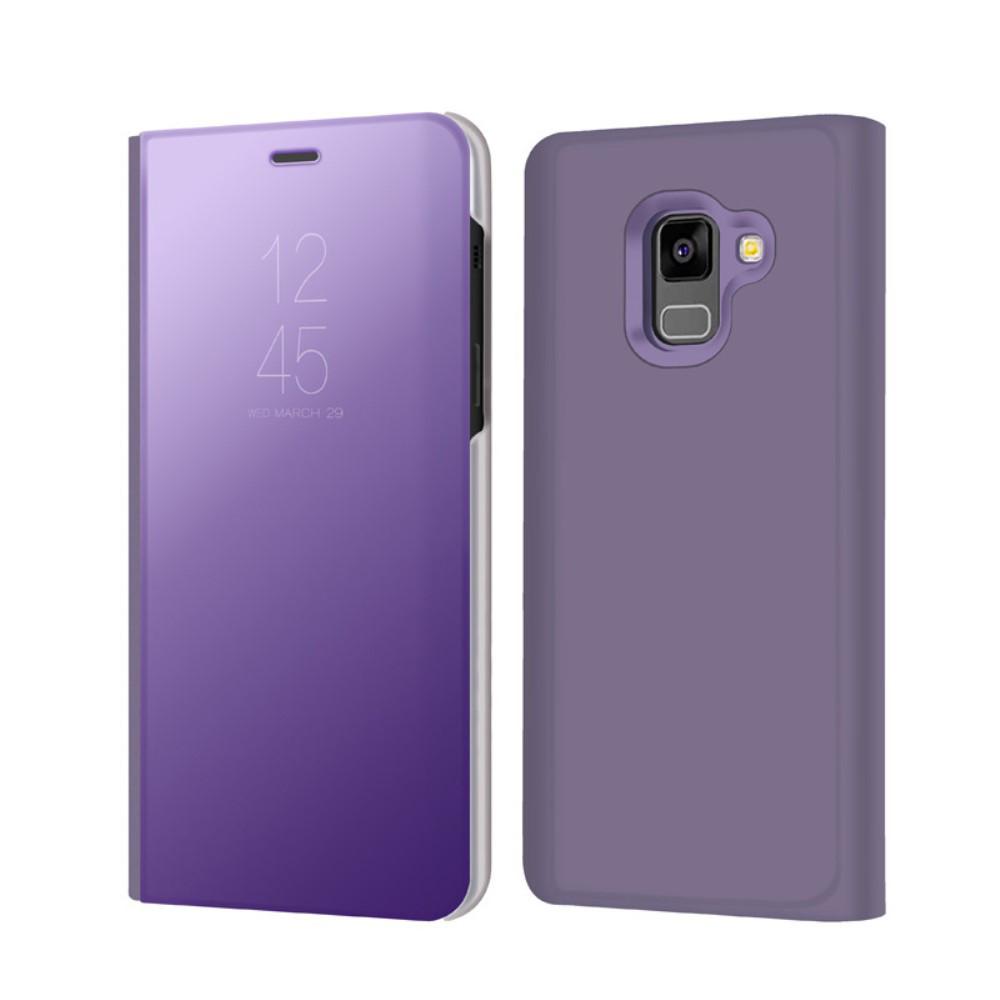 Чехол книжка для Samsung Galaxy A8 2018 A530 боковой с зеркальной крышкой, фиолетовый