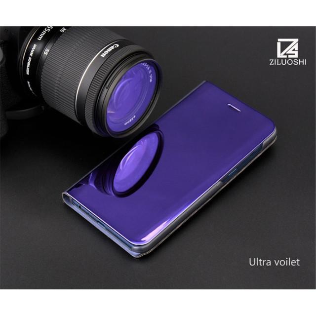 Samsung A8 2018 чехол книжка с зеркальной крышкой фиолетовый