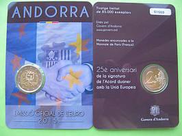 Андорра 2 євро 2015 р. 25-річчя підписання митного угоди з ЄС