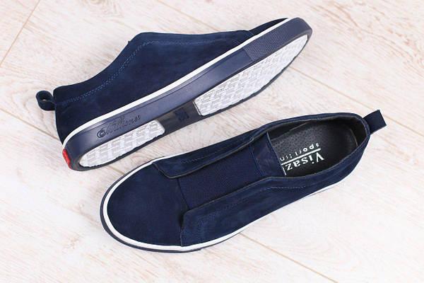 Мужские спортивные туфли-мокасины, синие, из натурального нубука