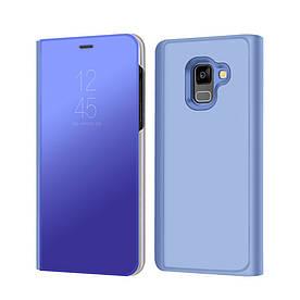Чехол книжка для Samsung Galaxy A8 2018 A530 боковой с зеркальной крышкой, синий