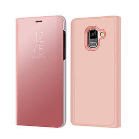 Чехол книжка для Samsung Galaxy A8 2018 A530 боковой с зеркальной крышкой, золотисто-розовый