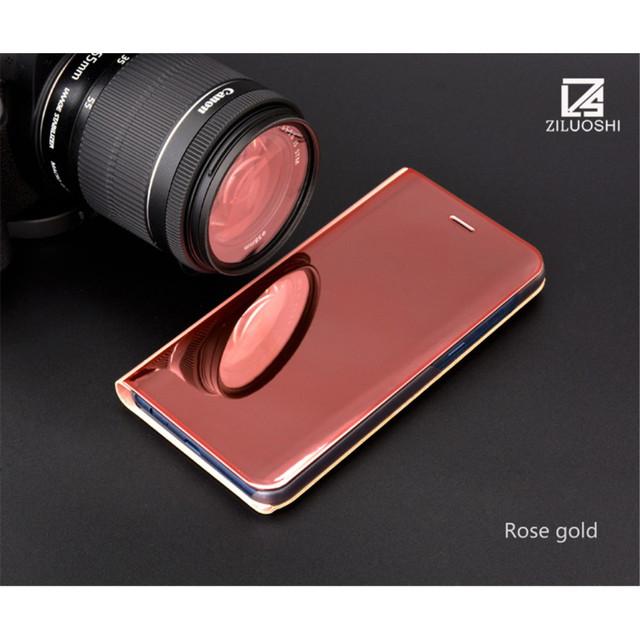 Samsung A8 2018 чохол книжка з дзеркальною кришкою золотисто-рожевий