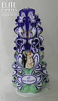 Весільна свічка різьблена для ритуалу Сімейне вогнище (фіолетово-зелений з кільцями, табличкою і статуетками)