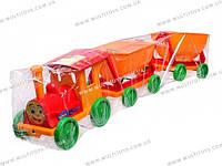 Конструктор-поезд с 2 прицепами 3 цвета 110*25*25см /12/(013784-2/013118)