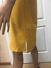 Женское платье офисное деловое трикотажное горчица, фото 3